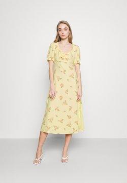 Glamorous - MIDI DRESSES WITH SCOOP NECK SLEEVES RUFFLE TRIM AND SIDE - Freizeitkleid - yellow