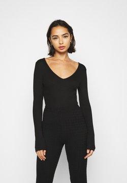 Missguided Petite - V NECK BODYSUIT - Langarmshirt - black