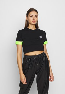 SIKSILK - NEON TAPE CROP TEE - T-Shirt print - black