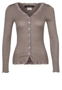 Rosemunde - SILK-MIX CARDIGAN REGULAR LS W/REV VINTAGE LACE - Strikjakke /Cardigans - brown melange
