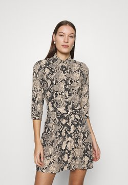 Dorothy Perkins - SNAKE MINI SHIRT DRESS - Freizeitkleid - natural