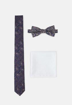 Jack & Jones - JACSHINNY NECKTIE SET - Krawatte - dark blue/gold-coloured