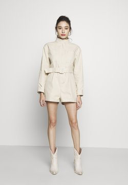 Lost Ink Petite - UTILITY STYLE BELTED PLAYSUIT - Combinaison - beige