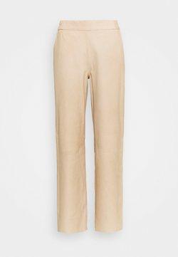 DEPECHE - PANTS - Leather trousers - dark vanilla