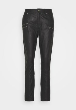 Culture - ANGELIA PANTS - Leather trousers - black