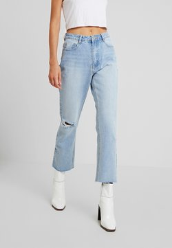 Missguided - WRATH HIGH WASITED DOUBLE SLIT RIP - Straight leg jeans - stonewash