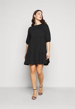 New Look Curves - TIER LOOPBACK SMOCK - Jerseykleid - black