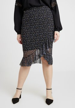 New Look Curves - DITSY RUFFLE MIDI - Kietaisuhame - black
