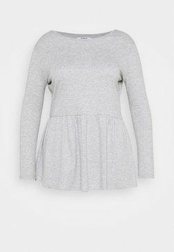 Simply Be - PEPLUM LONG SLEEVE - Maglietta a manica lunga - grey marl