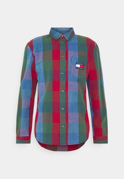 Tommy Jeans - CHECK UNISEX - Koszula - mid indigo