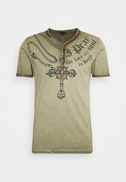 Key Largo - LEGACY BUTTON - T-shirt print - military green