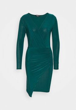 Missguided - SLINKY WRAP OVER MINI DRESS - Fodralklänning - forest green