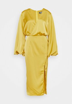 Missguided - BALLOON SLEEVE WRAP FRONT DRESS - Iltapuku - lime