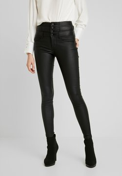 ONLY - ONLCORAL CORSAGE ROCK COATED - Stoffhose - black