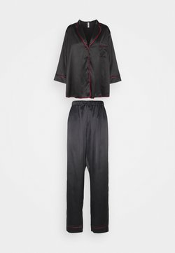Playful Promises - LONG WITH CONTRAST PIPING - Pyjama - black/wine