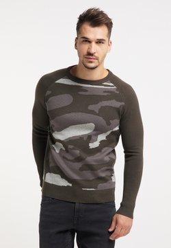 TUFFSKULL - Stickad tröja - oliv camouflage