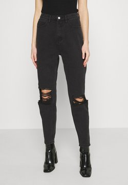 Missguided - BUSTED KNEE MOM JEAN - Relaxed fit -farkut - black