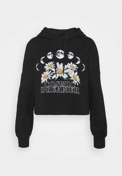 Even&Odd - Cropped Oversized Printed Hoodie - Kapuzenpullover - black