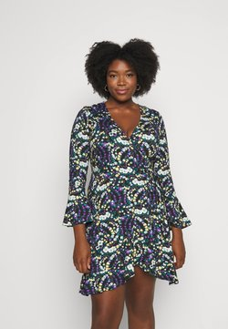 Simply Be - FLUTED SLEEVE WRAP DRESS - Jerseykleid - multi-coloured