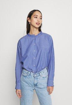 JDY - JDYBUBBLE LIFE FRILL LONG - Button-down blouse - estate blue/cloud dancer