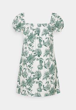 Abercrombie & Fitch - TRAPEZE SHORT DRESS - Freizeitkleid - white/green
