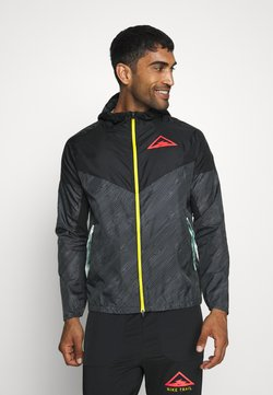Nike Performance - TRAIL - Windbreaker - black/laser crimson