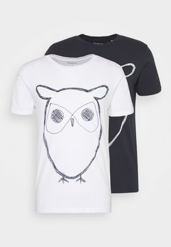 Knowledge Cotton Apparel - ALDER OWL TEE 2 PACK - Print T-shirt - blue/white