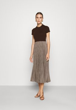 Polo Ralph Lauren - PAPA SHORT SLEEEVE DAY DRESS - Vestido de punto - brown