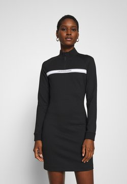 Calvin Klein Jeans - MILANO MOCK NECK ZIP LOGO DRESS - Etuikleid - black