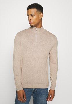 Burton Menswear London - CORE HALF ZIP - Strikkegenser - ecru