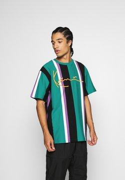 Karl Kani - SIGNATURE STRIPE TEE UNISEX - T-shirt z nadrukiem - turquoise