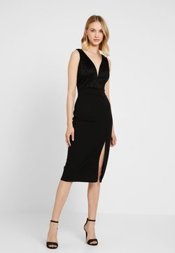 WAL G. - V NECK MIDI - Shift dress - black