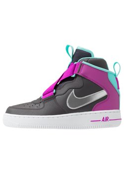 Nike Sportswear - AIR FORCE 1 BG - Sneaker high - thunder grey/metallic silver/hyper violet/aurora green