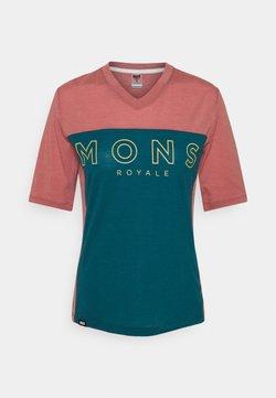 Mons Royale - REDWOOD ENDURO - T-Shirt print - deep teal/pink clay
