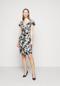 Lauren Ralph Lauren - PRINTED MATTE DRESS - Vestido de tubo - lemon ivory/blue