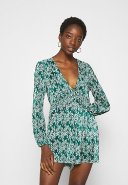 Topshop - PLISSE GRUNGE PLAYSUIT - Jumpsuit - green