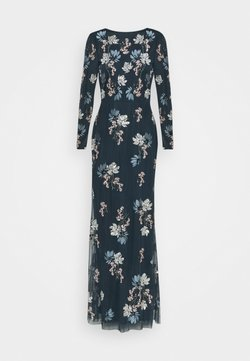 Maya Deluxe - LONG SLEEVE FLORAL EMBROIDERED MAXI WITH OPEN BACK - Vestido de fiesta - navy
