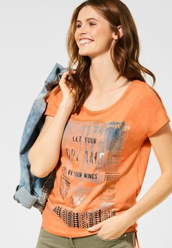 Cecil - MIT ETHNO-FRONTPRINT - T-Shirt print - orange