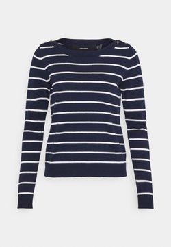 Vero Moda Petite - VMALMA BOATNECK  - Strickpullover - navy blazer/snow white