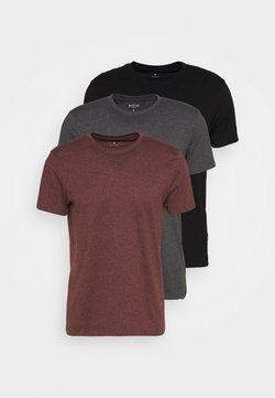 Burton Menswear London - SHORT SLEEVE CREW 3 PACK - Basic T-shirt - black/charcoal/burgundy