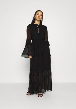 Missguided - TIE NECK TIERED FLOOR SWEEPER DRESS - Maxi dress - black