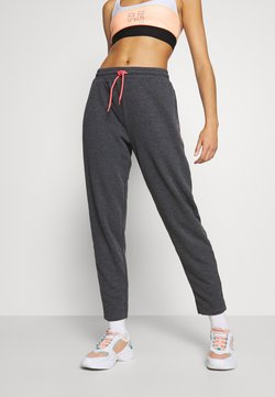 ONLY Play - ONPJOLIVIA PANTS - Jogginghose - dark grey melange/white/coral