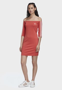 adidas Originals - OFF-THE-SHOULDER DRESS - Jerseykleid - red