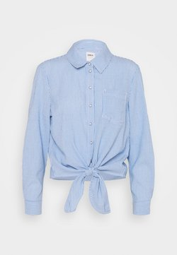 ONLY - ONLLECEY STRIPE KNOT - Hemdbluse - cloud dancer/medium blue