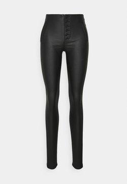 ONLY Tall - ONLROYAL COATED BUTTON PANT - Pantalon en cuir - black