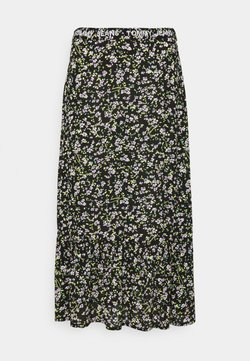 Tommy Jeans - TIERED FLORAL MIDI SKIRT - A-Linien-Rock - black
