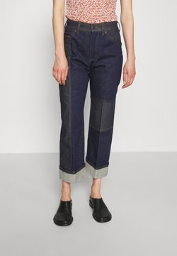 Neil Barrett - TWO TONE WIDE TUBE LEG JEANS WITH HIGH TURN UP CUFF - Jeans relaxed fit - dark indigo/indigo