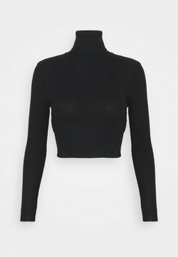 Missguided Petite - ROLL NECK CROP JUMPER - Strickpullover - black