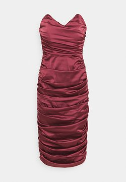 Missguided - RUCHED SWEETHEART NECK MIDI DRESS - Cocktailkleid/festliches Kleid - burgundy