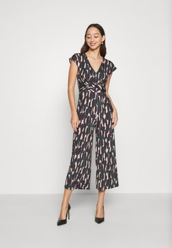 Anna Field - OCCASION - ALL OVER PRINT SHORT SLEEVES FRONT KNOT JUMPSUIT - Combinaison - black/multi-coloured